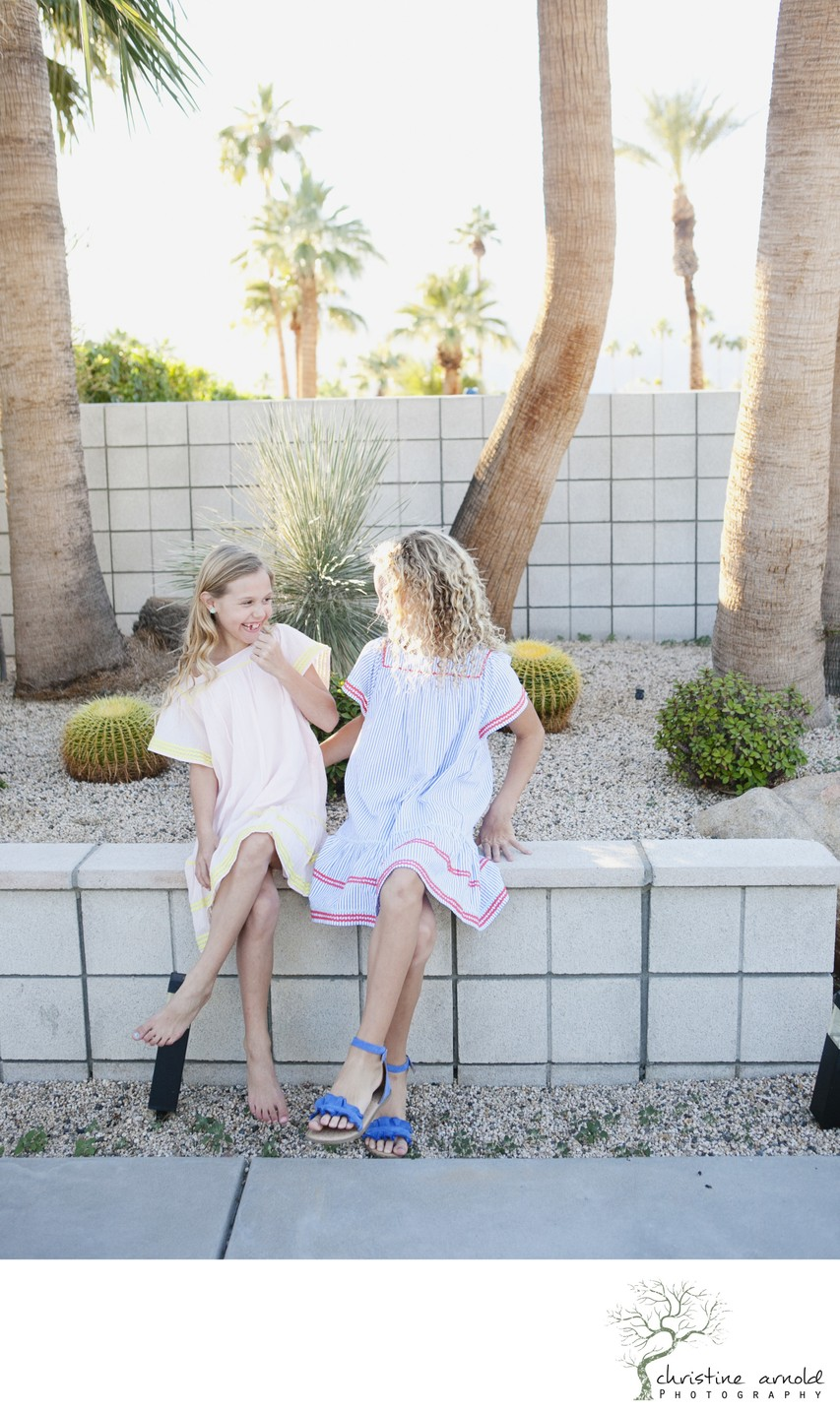 Palm Springs family photos at mid-century modern home