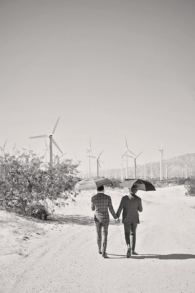 Creative LGBTQ wedding photos  Windmills Palm Springs