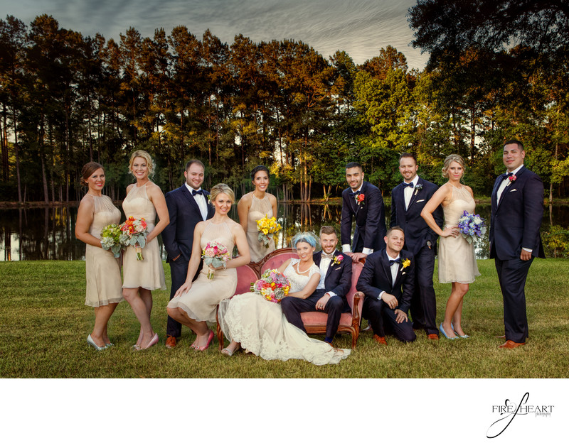 Rustic Rose bridal party by Conroe Wedding Photographer