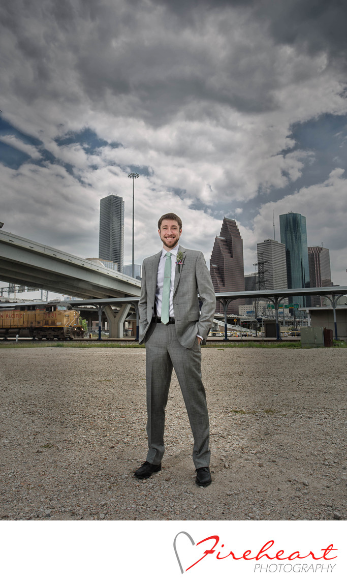 Houston skyline groomsmen