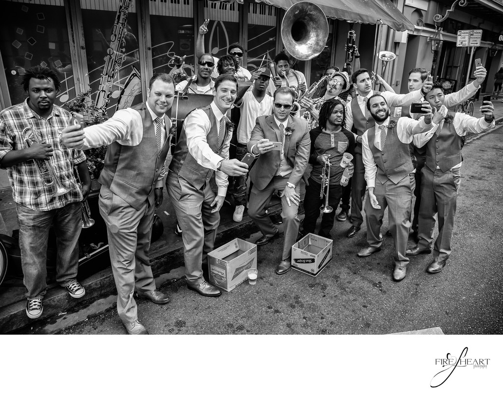 New Orleans Wedding Photographer with street band