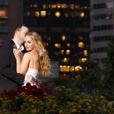 night engagement session in houston