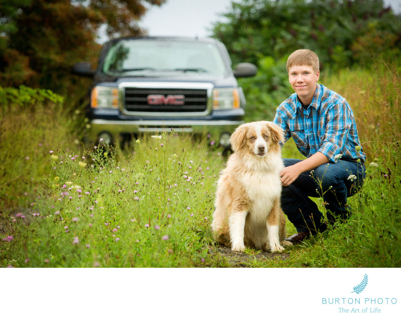 Boone Senior Portrait with Dog