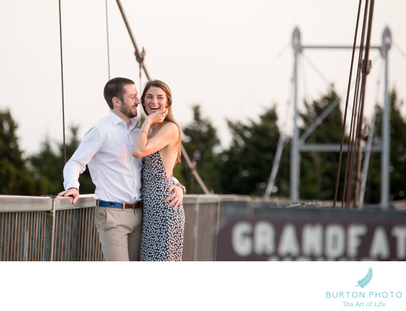 Linville Engagement Portrait Swinging Bridge