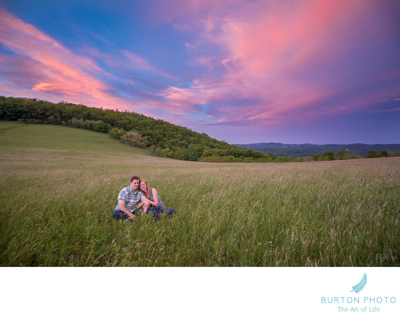 Sunset Engagement Photo Moses Cone Estate Blowing Rock