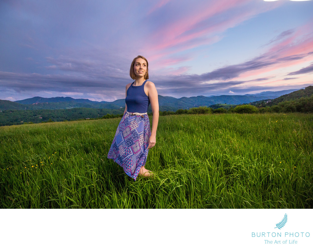 Boone Senior Portrait Sunset in Banner Elk