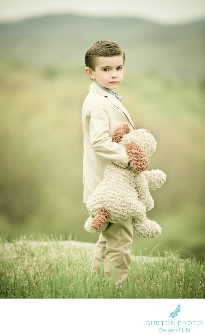 Children Portraits Blowing Rock Boy With Bear