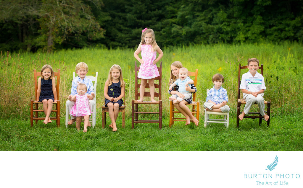 Children Portrait Group Blowing Rock