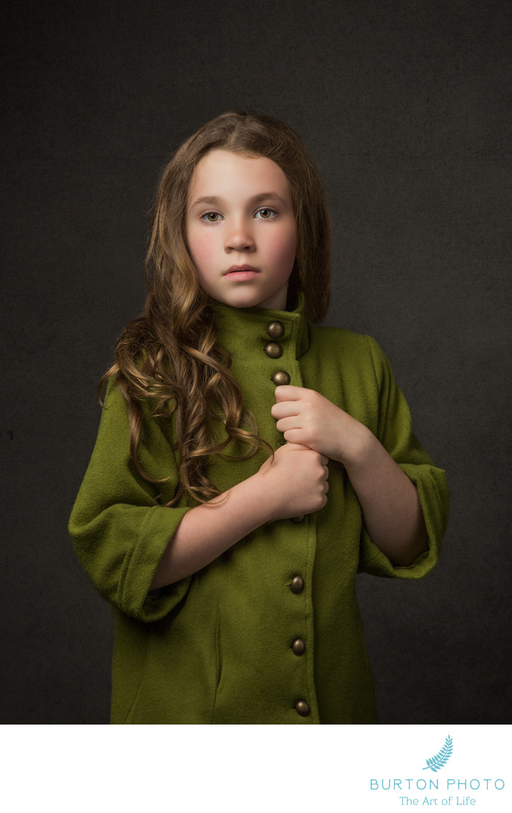 Studio Portrait Girl with Green Coat