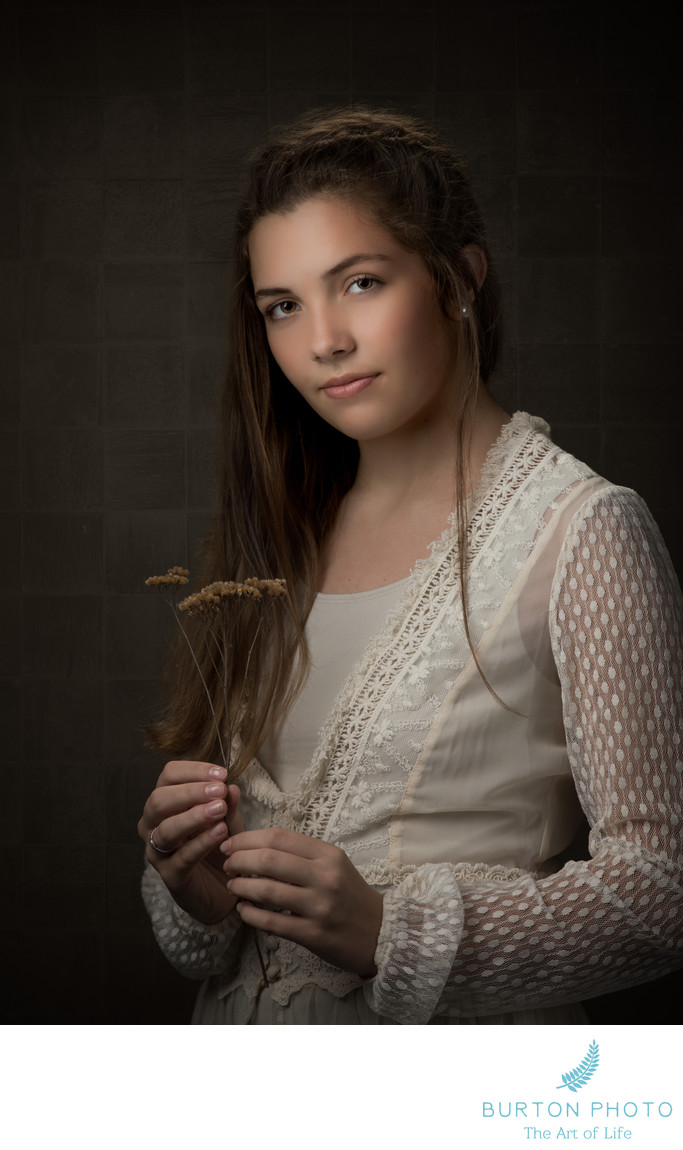 Studio Portrait Boone Girl With Dried Flower