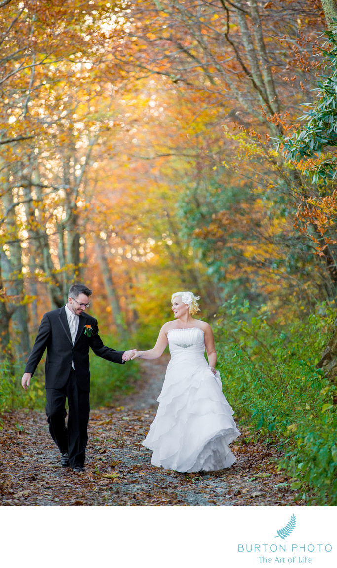 Banner Elk Winery Wedding Photo Fall Country Road