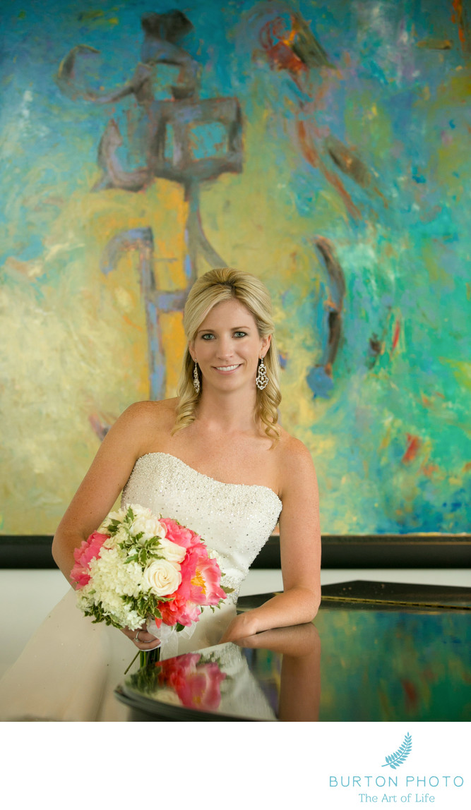 Linville Wedding Photographers Bride with Painting