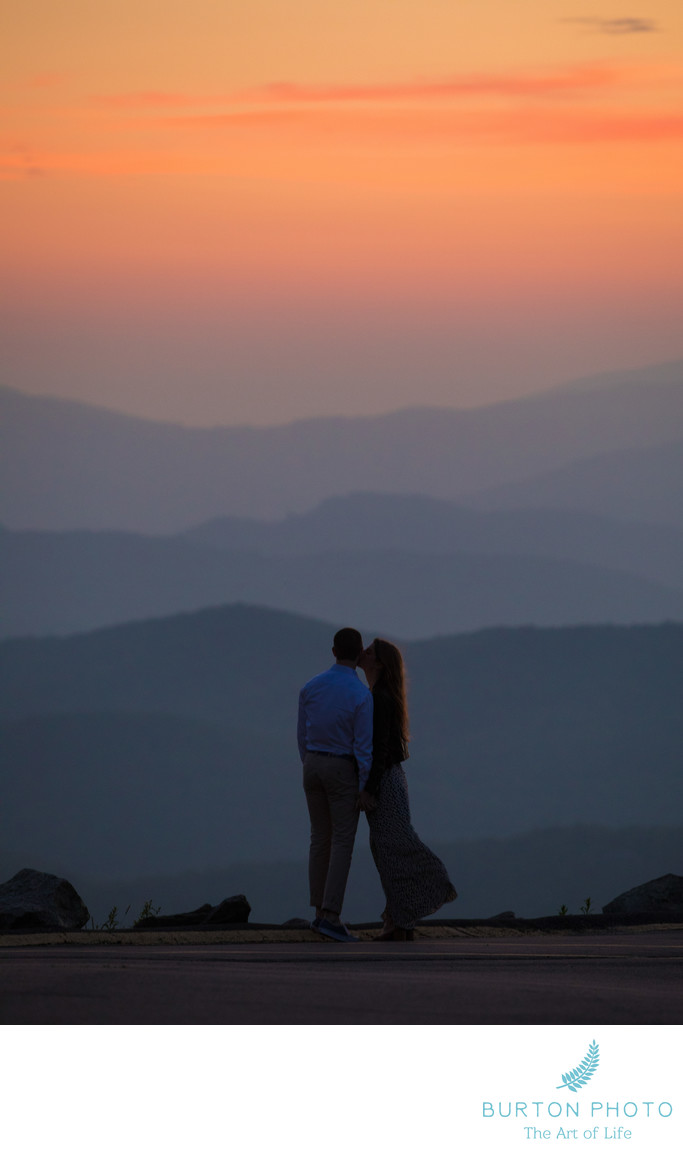 Sunset Engagement Portrait Grandfather Mountain