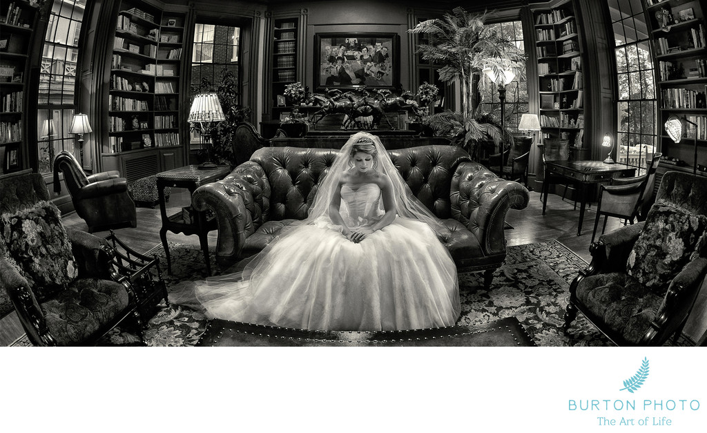 Boone Wedding Photographer Bridal Portrait in Library