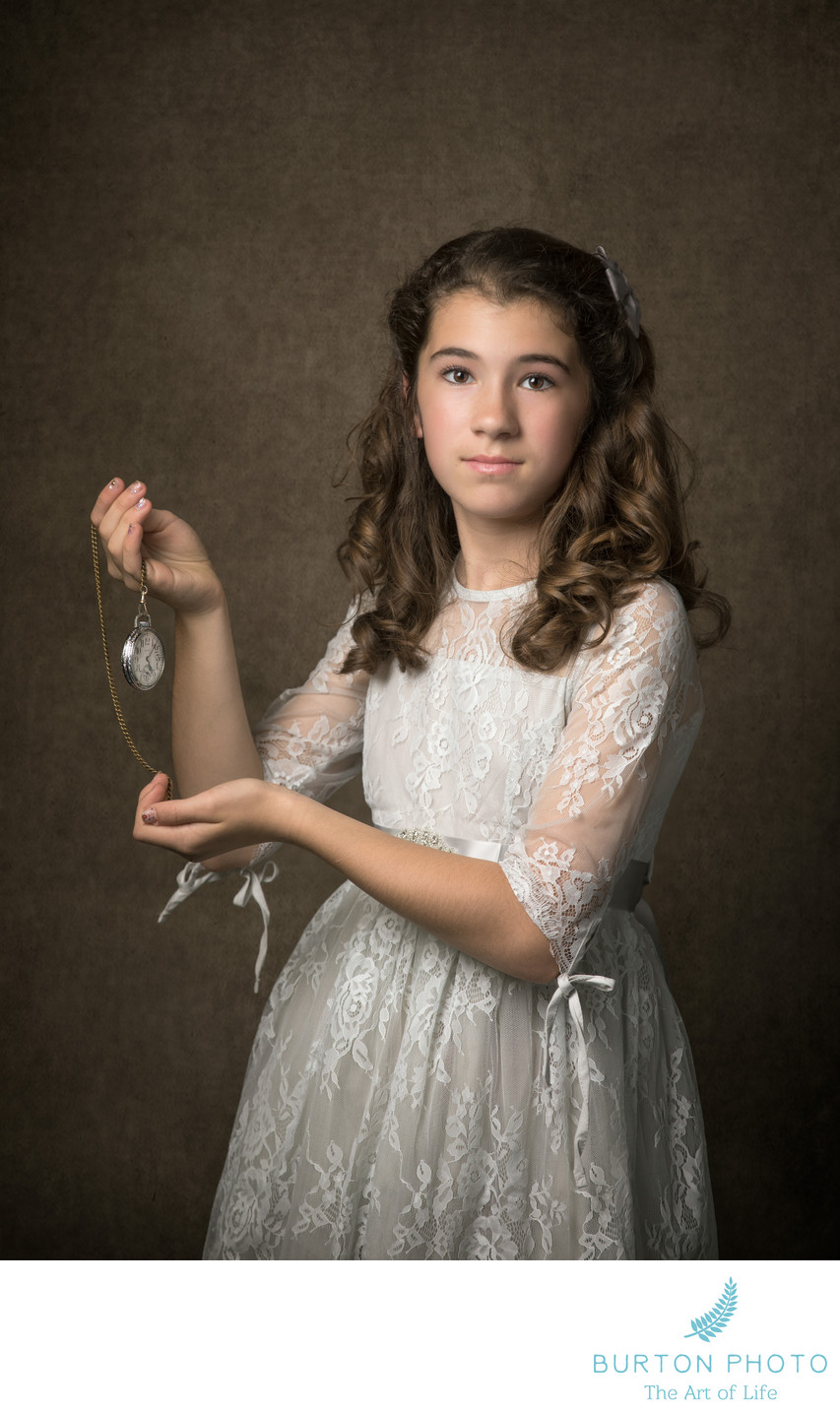 Boone Studio Portrait Girl with Heirloom Pocket Watch