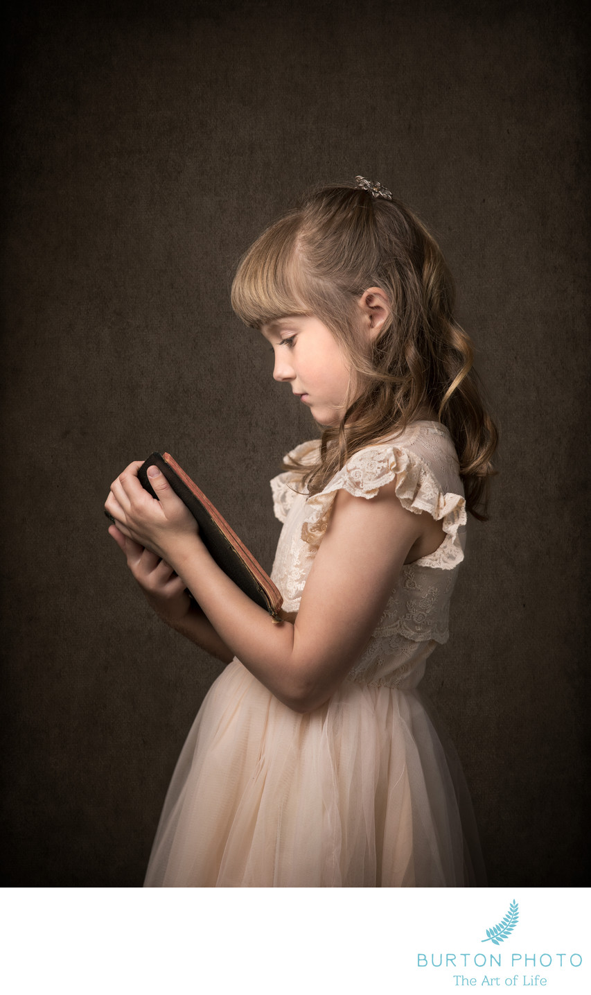 Studio Portrait Boone Girl with Antique Bible