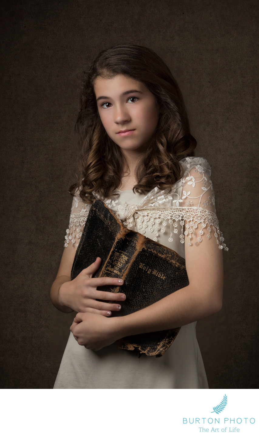 Studio Portrait Boone Girl with Heirloom Bible