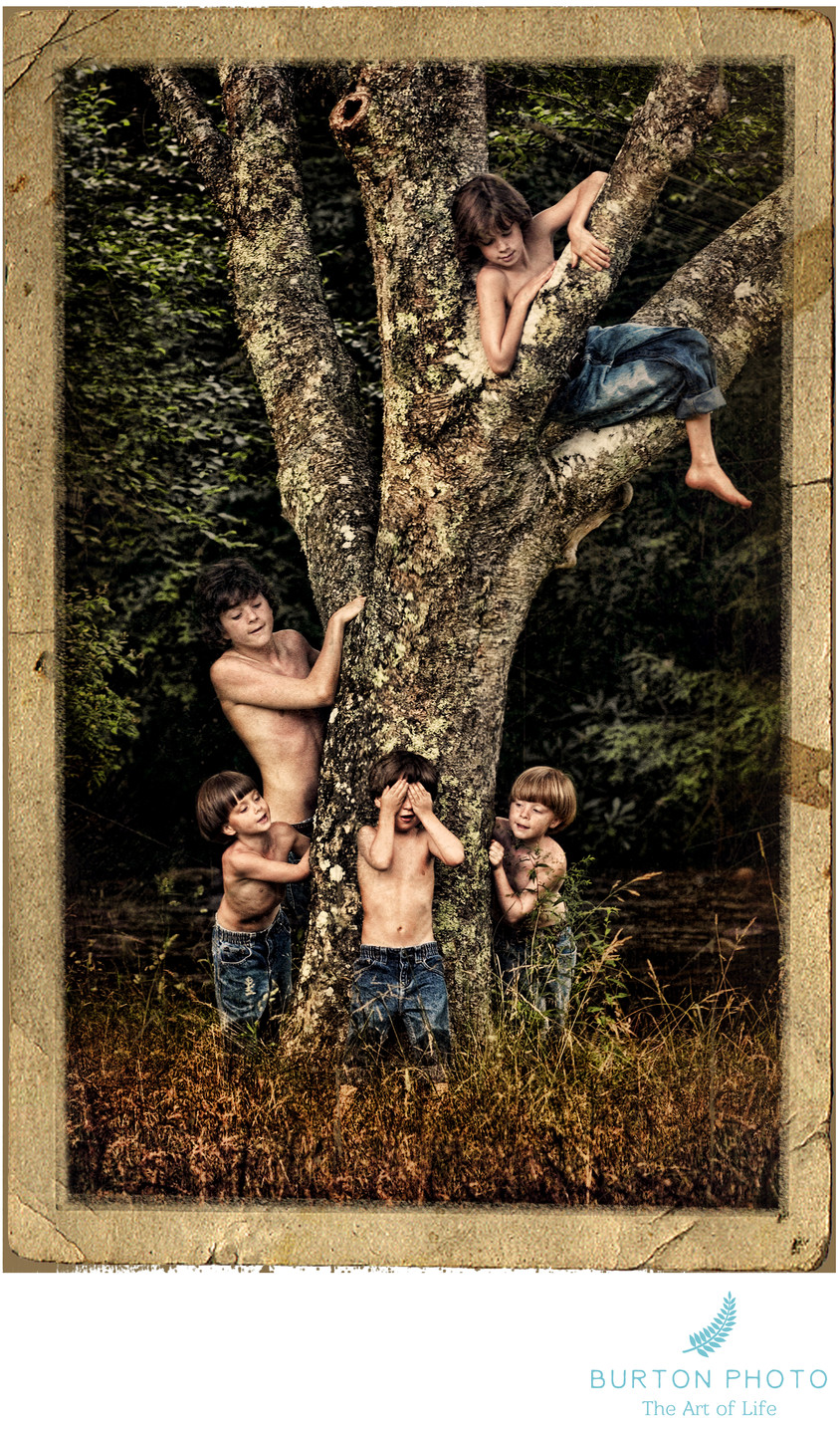 Portrait Of Boys At Blowing Rock