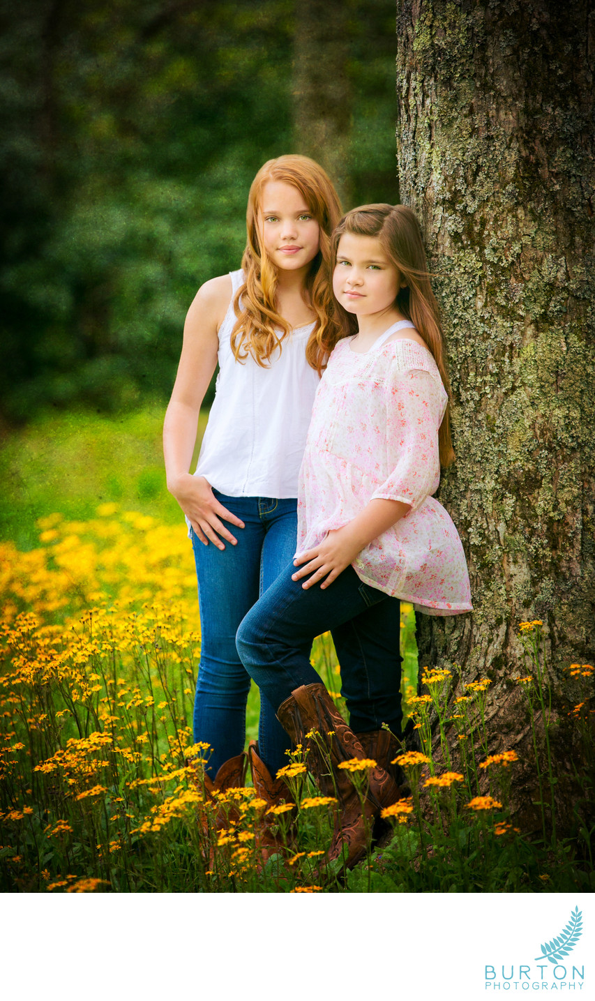 Top Blowing Rock Portrait of Girls