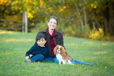 Blowing Rock Family Portrait with Spaniel