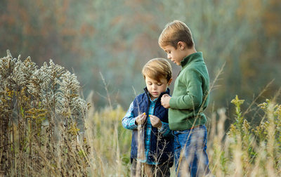 Blowing Rock Portrait of Brothers in a Field