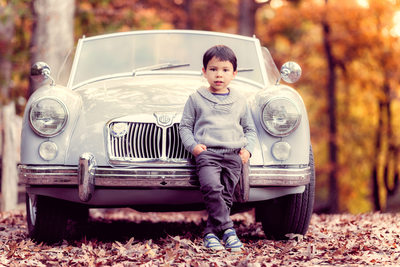 Children Portraits Boone Boy with Grandpa's Car
