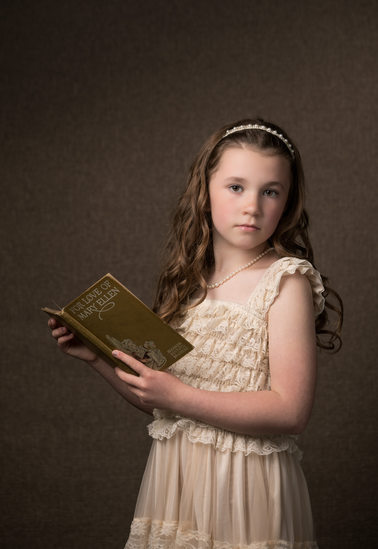 Studio Portrait Boone Girl With Antique Book