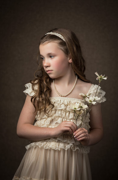 Boone Studio Portrait Girl with Dogwood Flower