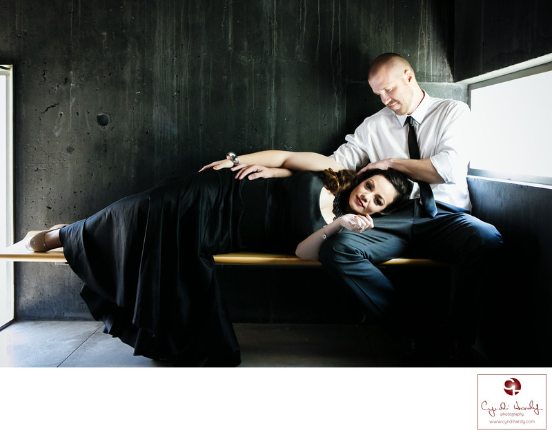 Elegant couple at the Phoenix Art Museum Engagement photos