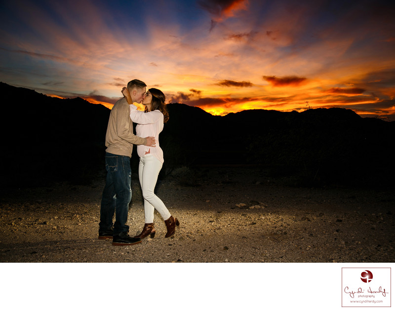 Amazing Desert Sunset Engagement Session