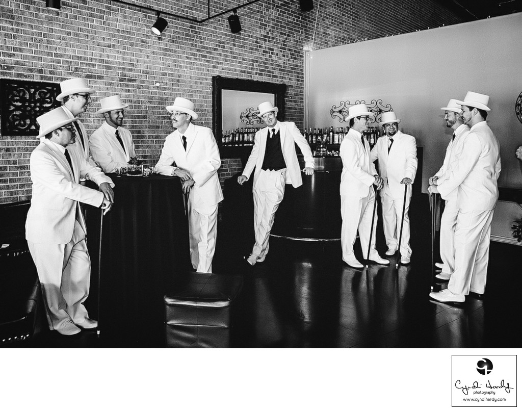 Top hats and canes groomsmen