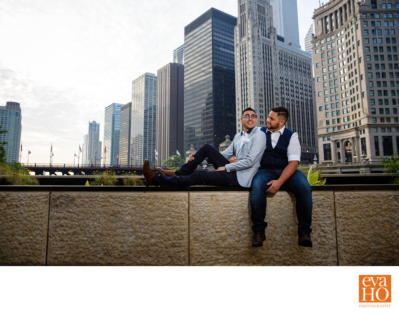 Chicago Riverwalk Sunrise Cute Gay Couple Engagement
