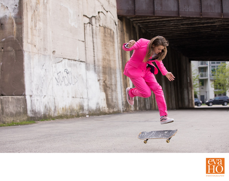 Chicago Skateboarder who Loves to Wear Pink