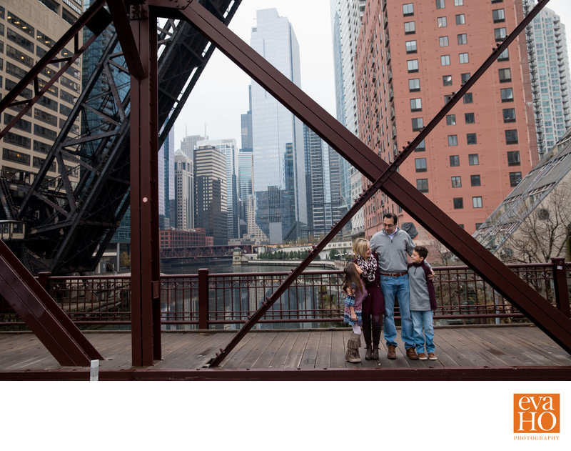 Urban Family Photos in Chicago Kinzie Street Bridge