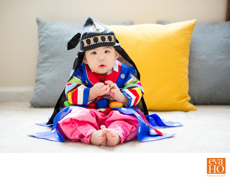 Korean First Birthday Boy in Traditional Outfit