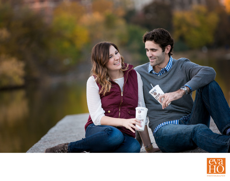Lincoln Park North Pond Engagement Couple with Chipotle
