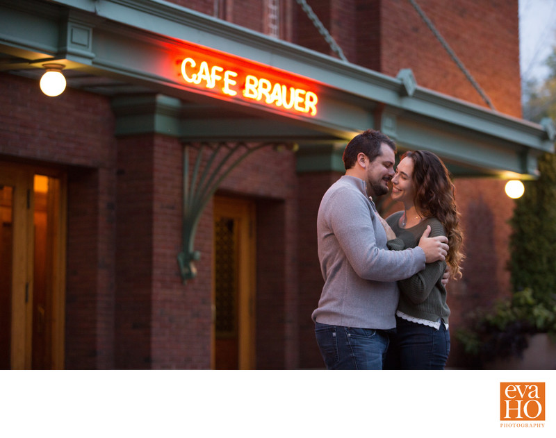 Cafe Brauer Engagement Picture