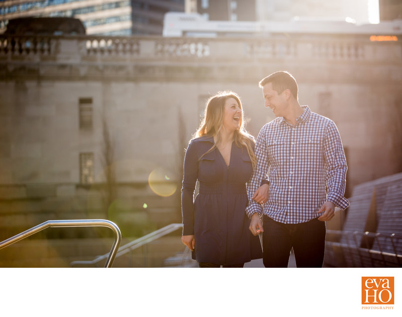Chicago Riverwalk Sunrise Engagement Session