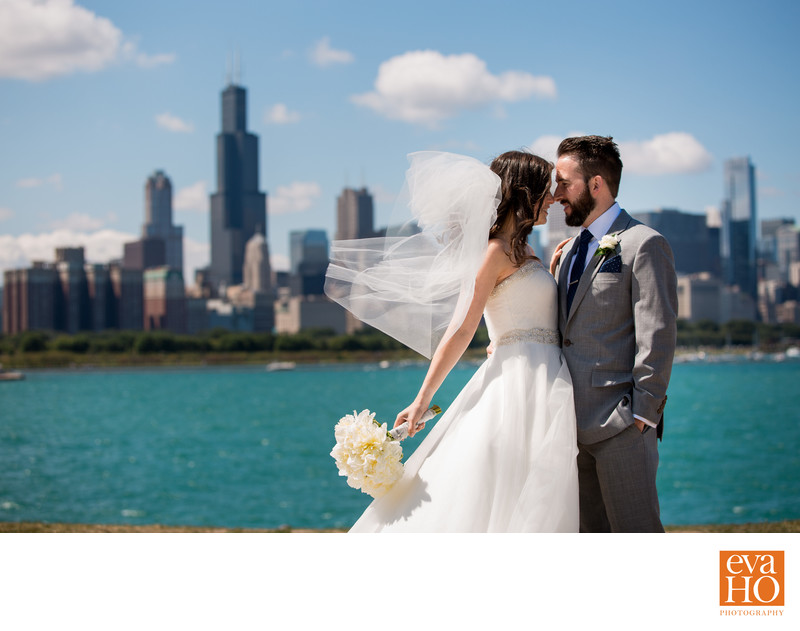 Chicago Skyline in Stunning Bride and Groom Portrait