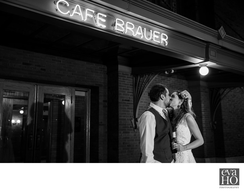 Night Time Portrait in front of Cafe Brauer Sign