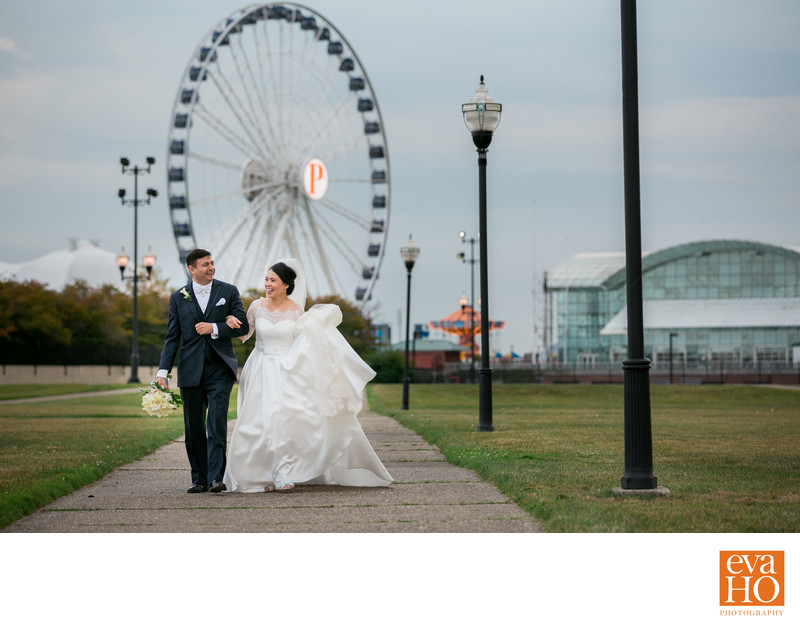 Most Stunning Navy Pier Ferris Wheel Wedding Picture