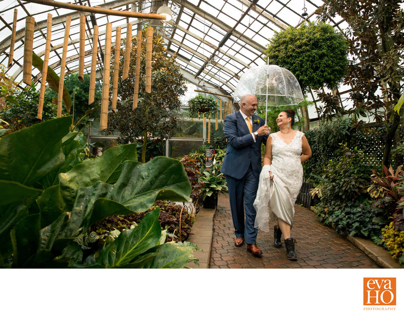 Rainy Day Wedding Portrait at Lincoln Park Conservatory