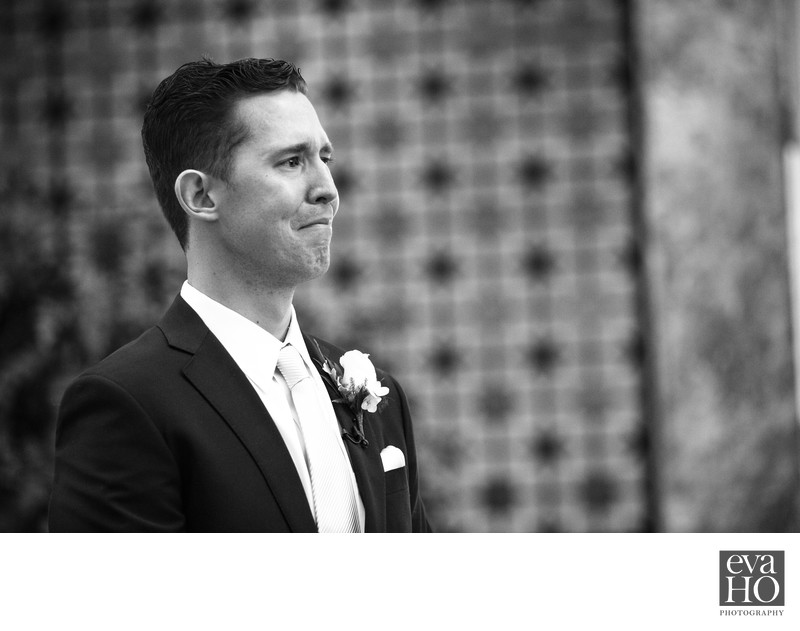Emotional Groom Holds Back Tears At Wedding Ceremony