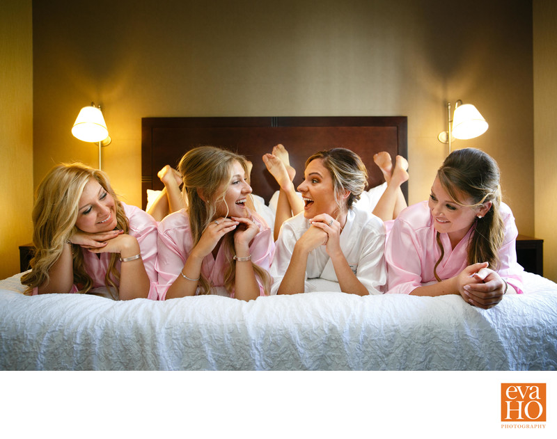 Bride and Her Bridesmaids Hanging Out Before Her Wedding