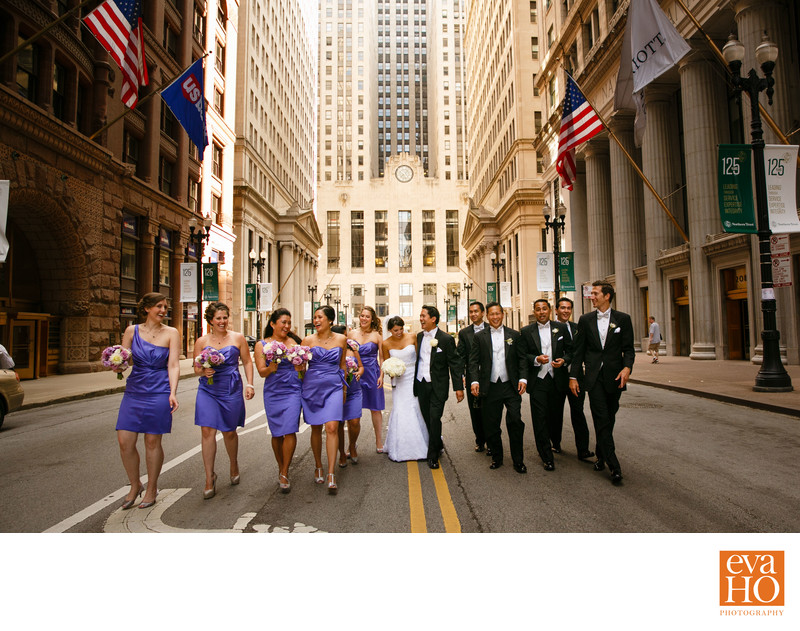Bridal Party Hanging in Front of Chicago Board of Trade
