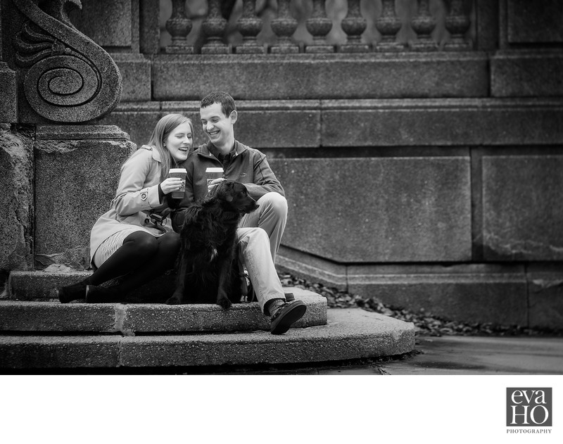 South Loop Engagement Photo with Furry Friend