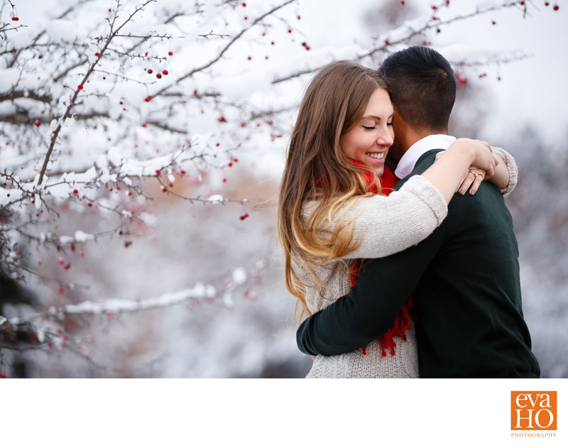 Snowy Engagement Session at Morton Arboretum
