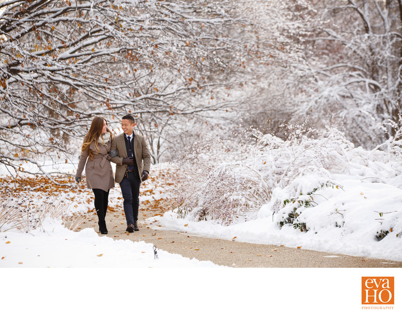 Winter Wonderland Engagement Photos at Morton Arboretum