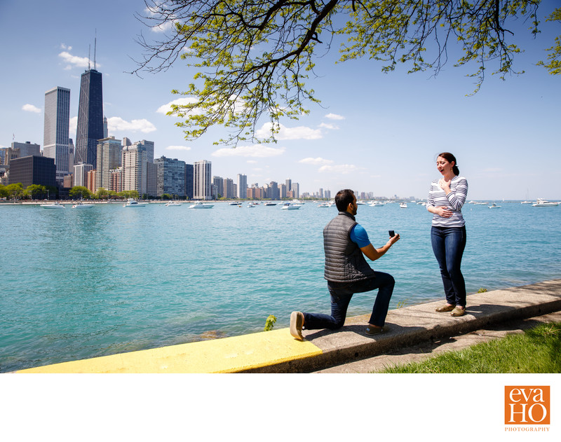 Surprised Proposal In Front of Chicago Skyline