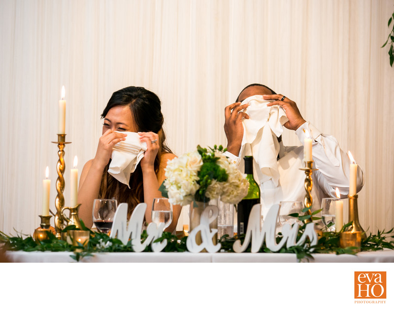 Emotional reaction during wedding reception speeches